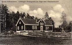 Postkort. Leikanger prestegård fra Sogn med Thaulowmuseet. T