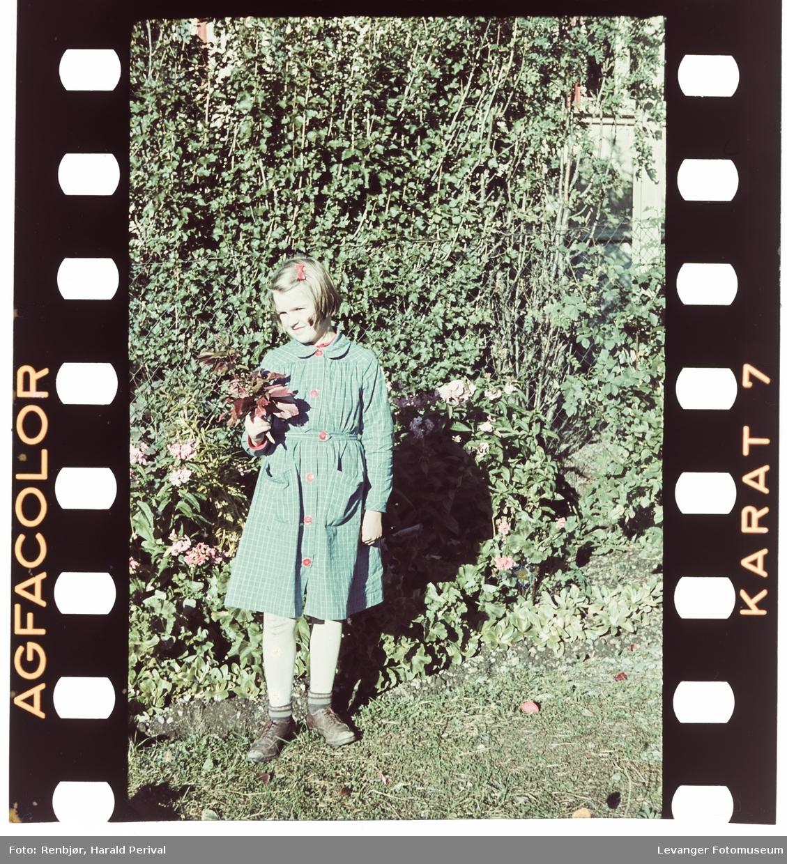 Jente med blomster.