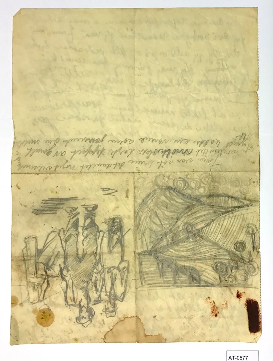 Tosidig skisse. Notat på side 2 og delvis side 1.