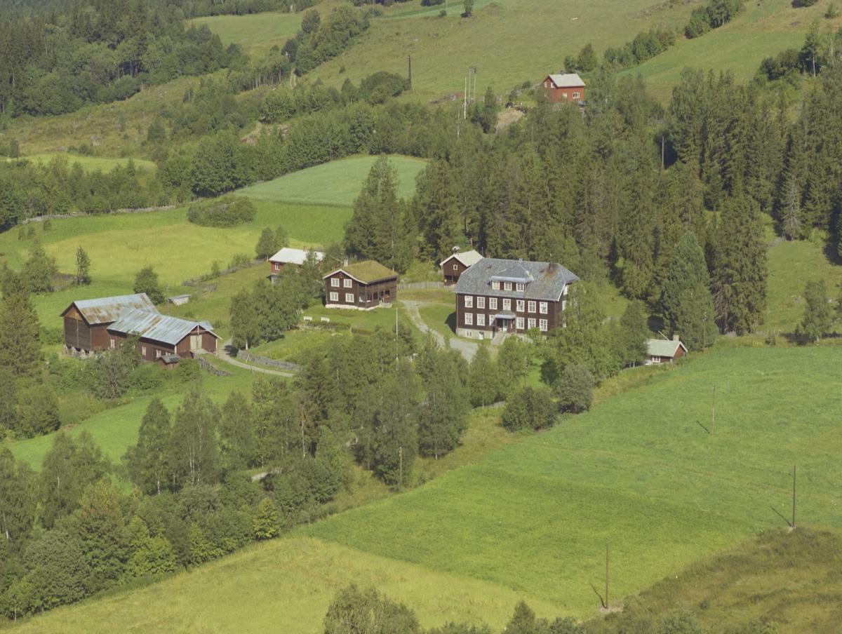 Gårdstun, stor brun tømmerbygning, bygning med torvtak, stabbur Vestre Gausdal