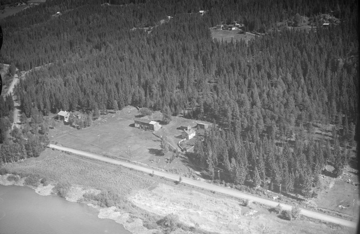 Ukjent gård, Øyer, 1953, oversiktsbilde, flere gårder, jordbruk, vei langs vann, blandingsskog