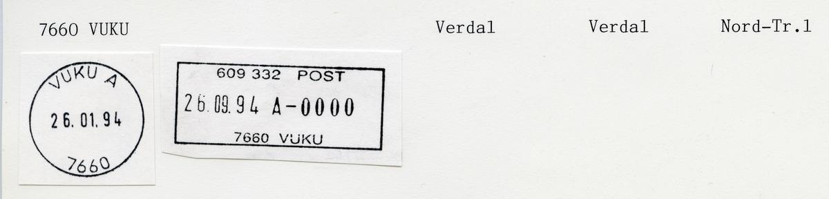 Stempelkatalog  7660 Vuku, Verdal kommune, Nord-Trøndelag