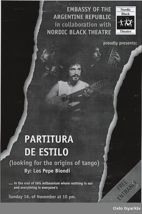 Plakat for konserten Partitura de estilo...Oslo byarkiv har ikke rettigheter til denne plakaten. Ved bruk/bestilling ta kontakt med Nordic Black Theatre (post@nordicblacktheatre.no)