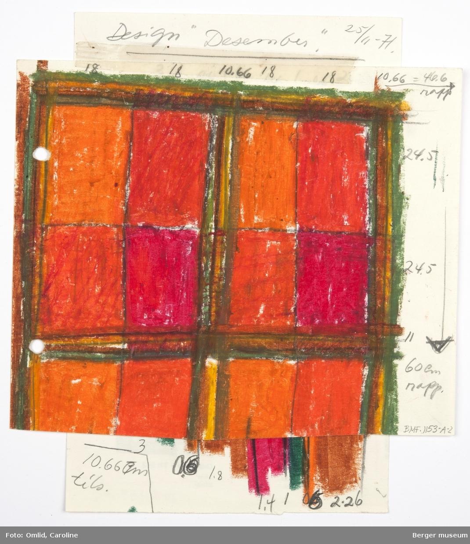 Skissen består av to ark limt sammen med tape. Det øverstearket har en skisse med ruter,, den underste med striper
