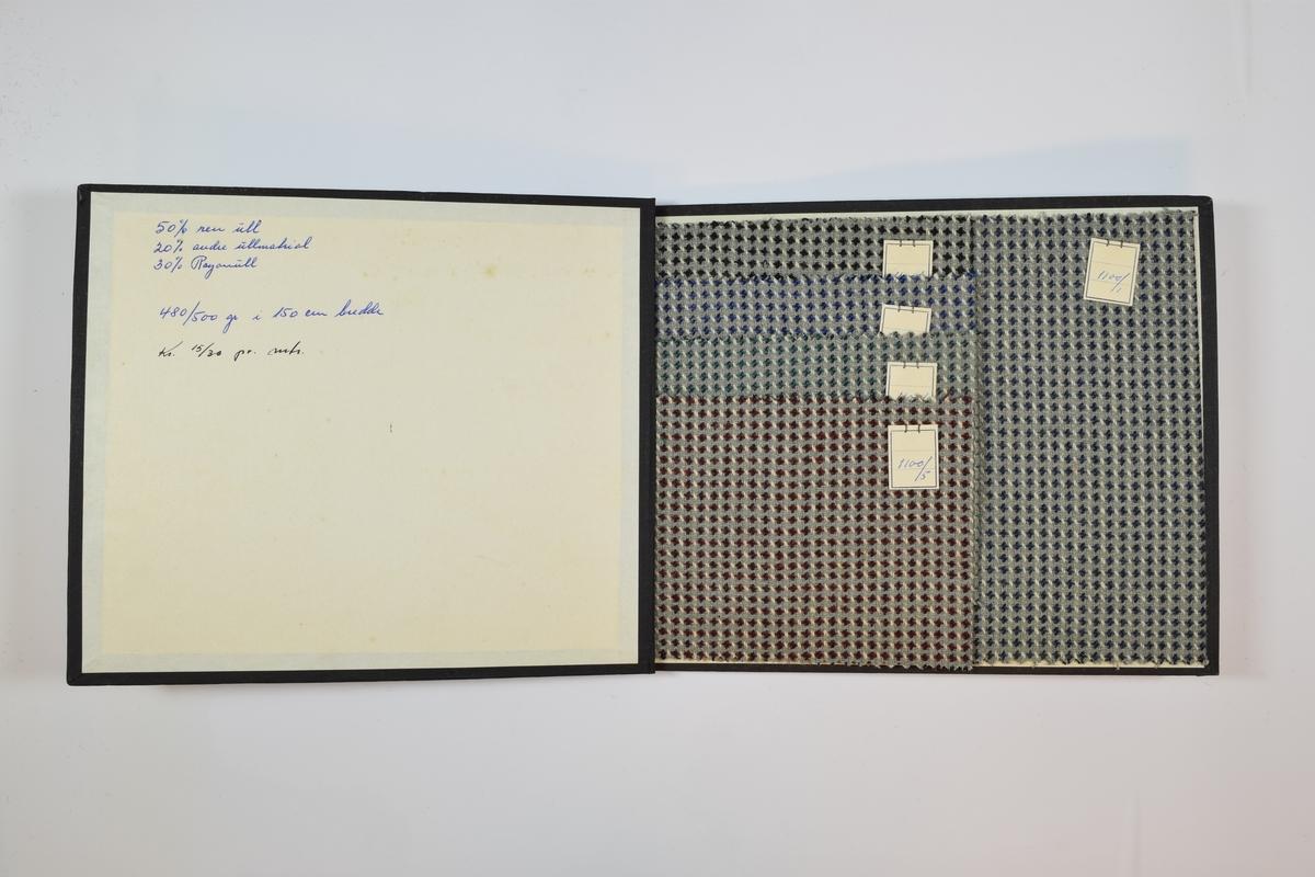 Rektangulær prøvebok med 5 stoffprøver. Middels tykke stoff med prikker eller firearmede stjerner i ulike farger. Lysegrå bunnfarge på alle stoffene, samt lyse stiplede striper. Kan sees på som et slags rutemønster. Prøvene ligger brettet dobbelt i boken slik at vranga dekkes. Fire av prøvene dekker en fjerdedel av bokens areal og er montert som en trapp fremst i boken. Det bakerste stoffet dekker tilnærmet hele bokens areal. Dermed er en del av alle stoffene synlige når boken åpnes. Stoffene er merket med en firkantet papirlapp, festet til stoffet med metallstifter, hvor nummer er påført for hånd.   Stoff nr.: 1100/1, 1100/2, 1100/3, 1100/4, 1100/5.