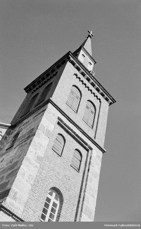 Utsjok Kirketårn. Utsjok-tur, Finland. Fotografert i august 1969.