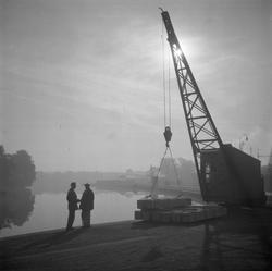 Linköpings hamn, 1949. Bilden är tagen mot Stångåns utlopp.