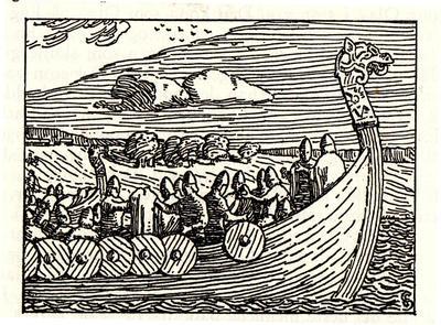 Illustrasjon fra Snorres Norgeshistorie (Soga om Olav den hellige). Foto/Photo