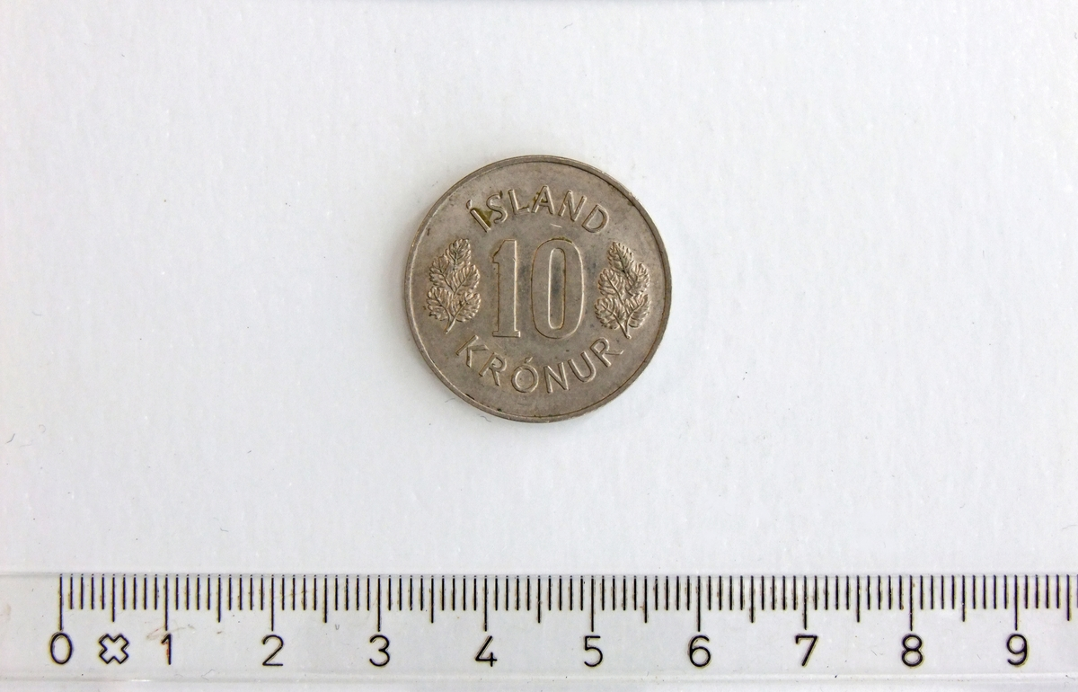 10 Krónur,  ISLAND,  1973,  Kobber-Nikkel.  Form:  Sirkulær