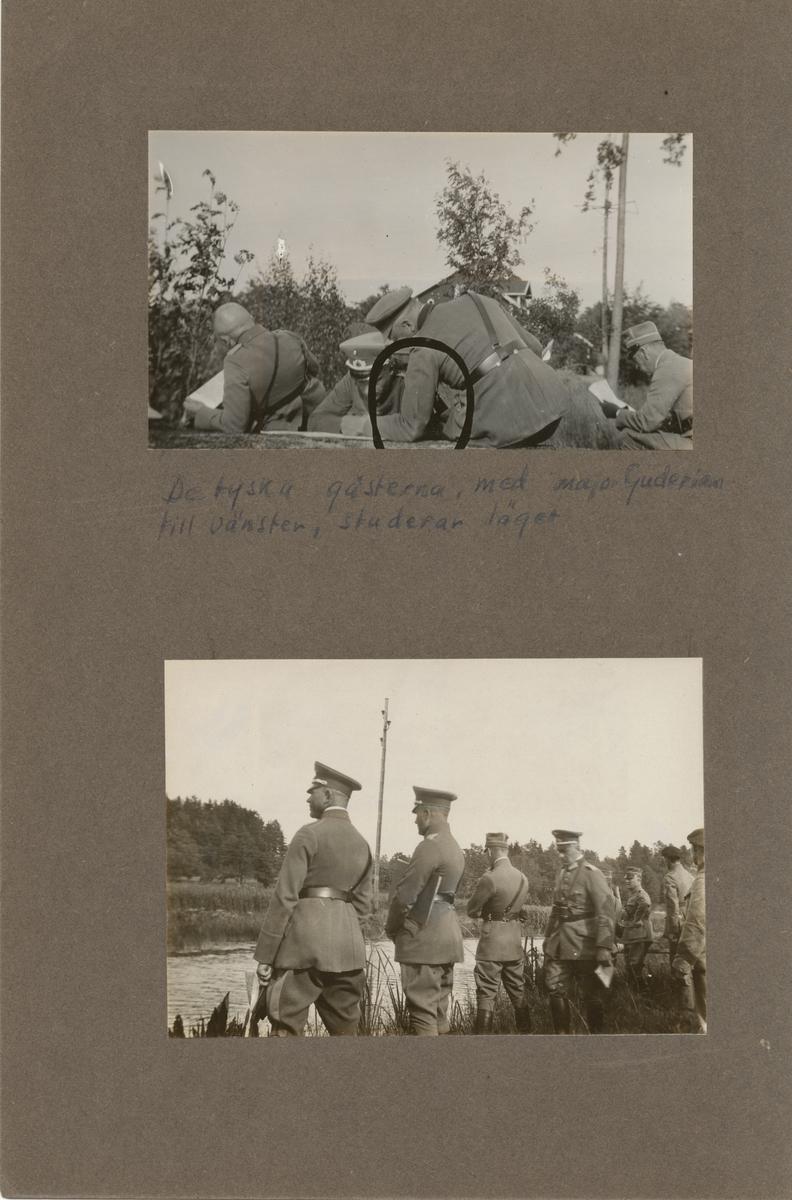 Tyska officerare besöker stridsvagnskursen vid Göta livgardes stridsvagnsbataljon.