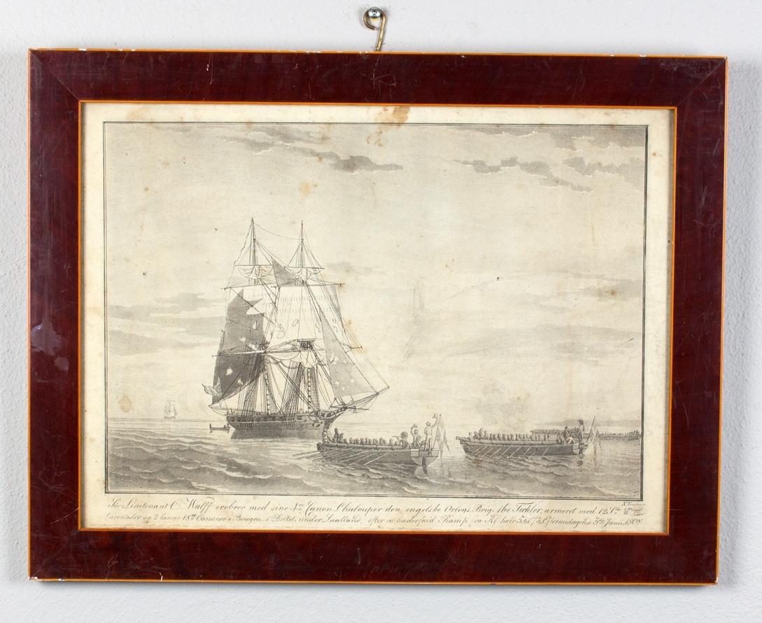 Den britiske orlogsbriggen THE TICKCLER med sønderskutte seil erobres av fire kanonsjalupper.
