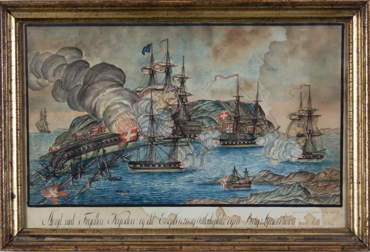 Viser slaget med fregatten NAJADEN og det engelske rangskipet DICTATOR og en brigg. Ved Lyngør 1812.