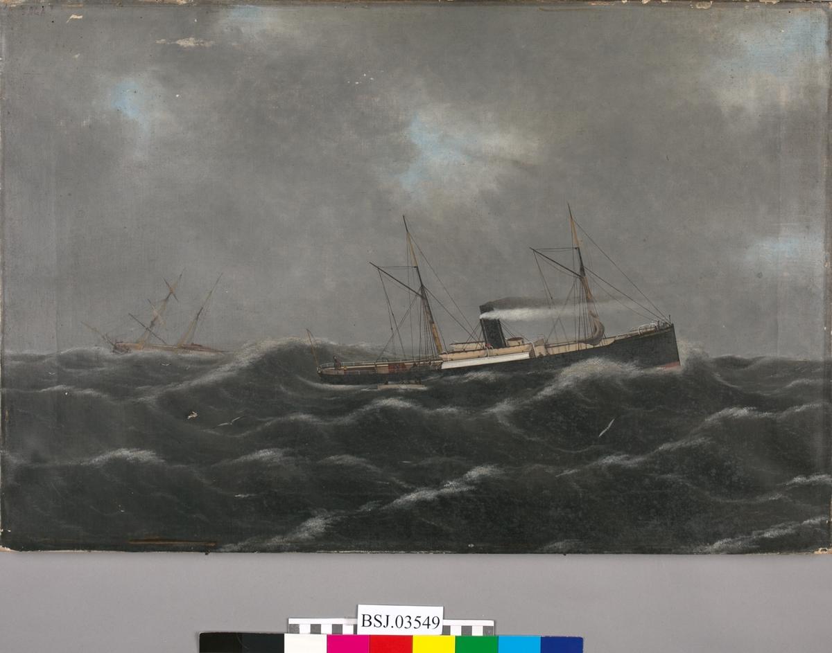 Skipsportrett trolig av DS SAGA, bygget i Newcastle i 1868. Bildet viser skipet idet det kommer en skonnert i havsnød til unsetning. Opprørt sjø.