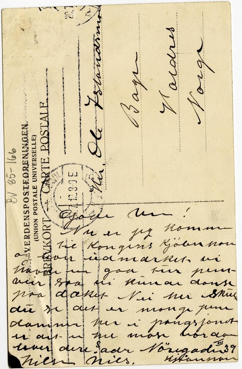 "Postkort med motiv fra ""fiskeri & motorudstillingen"" i København i 1912."