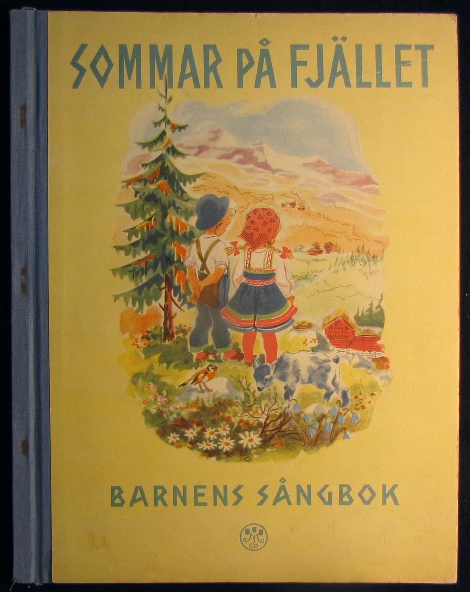 Sångbok på omslaget: Två barn, get, fågel i ett alplandskap. Tryckt 1947.
