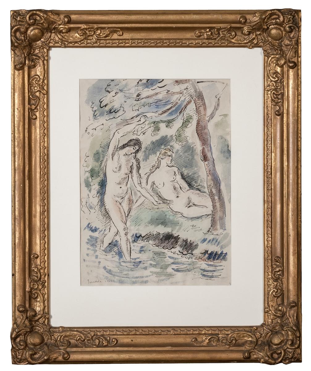 """Akvarell """"Badande kvinnor"""" av Gösta Sandels. En kvinna halvligger på land och en går i vattnet, träd och buskar. (Kat.kort)"""
