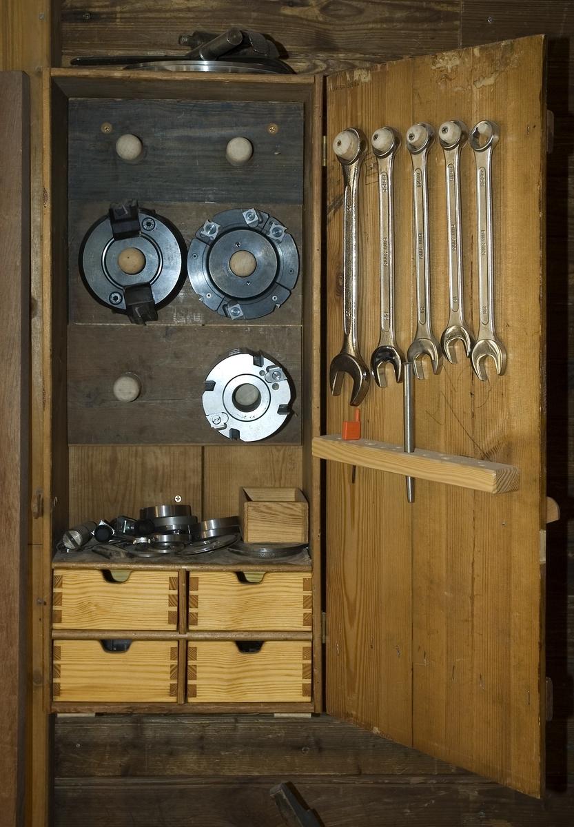Väggskåp av trä (a) med 4 lådor märkta b-e. Lådmått: B= 132 mm, Dj= 160 mm, H= 63 mm.  Funktion: Förvaring av tillbehör till fräs