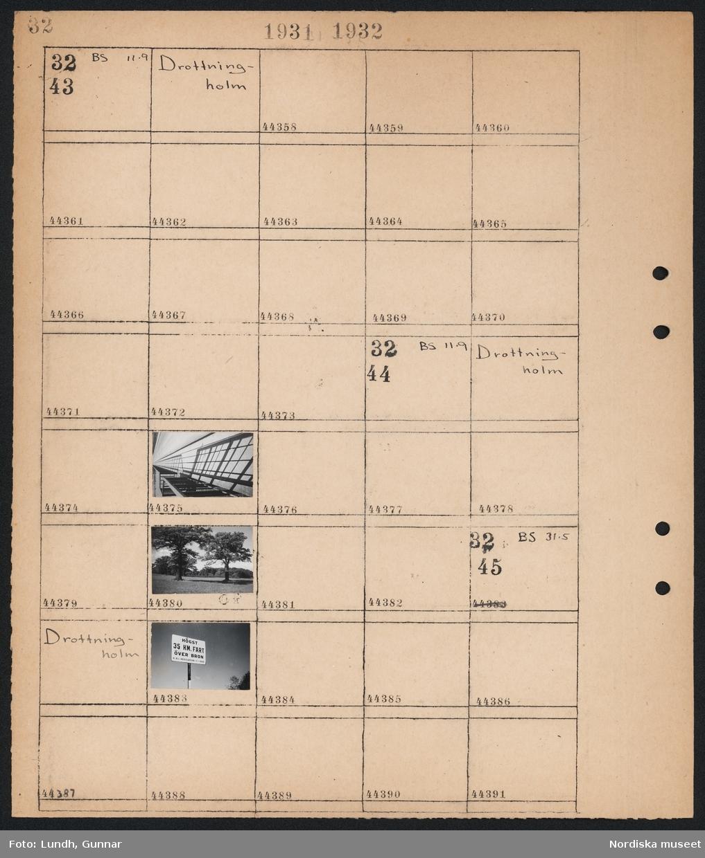 """Motiv: Drottningholm; Ej kopierat.  Motiv: Drottningholm; Skugga av staket, landskapsvy med två träd.  Motiv: Drottningholm; Stolpe med skylt """"Högst 35 km. fart över bron H.B:s Resolution 2/1 1929""""."""
