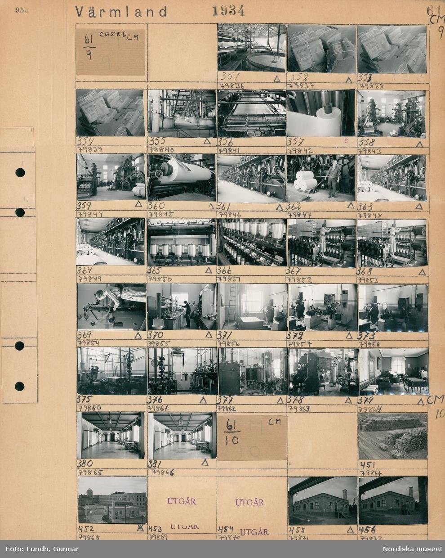 Motiv: Billeruds Aktiebolags fabriker rulle 5-12; Interiör av fabrik med med maskiner och tillverkning, två män drar en pall lastad med rullar, en maskin med trådrullar, en kvinna arbetar vid en maskin med trådrullar, interiör av ett kontor, interiör av ett rum med upphängda älghuvuden.  Motiv: Billeruds Aktiebolags fabriker rulle 5-12; Vy över staplar med timmerstockar, vy över industribyggnader.