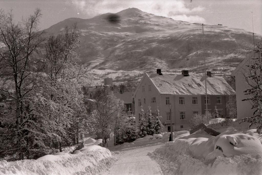 Krysset mellom Vasvikveien og Roald Amundsens vei i Vasvik.  Gården til høyre: Fjeldegården og gården til venstre: Søberggården.
