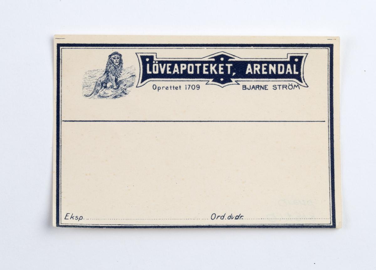 Hvit nøytral etikett beregnet for legemiddel til innvortes bruk ordinert av lege. Dekorert.