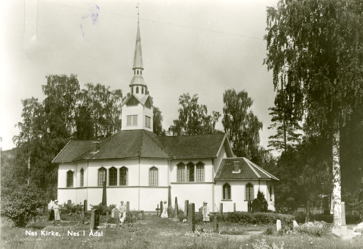 Nes kirke, Nes i Ådal. Postkort.