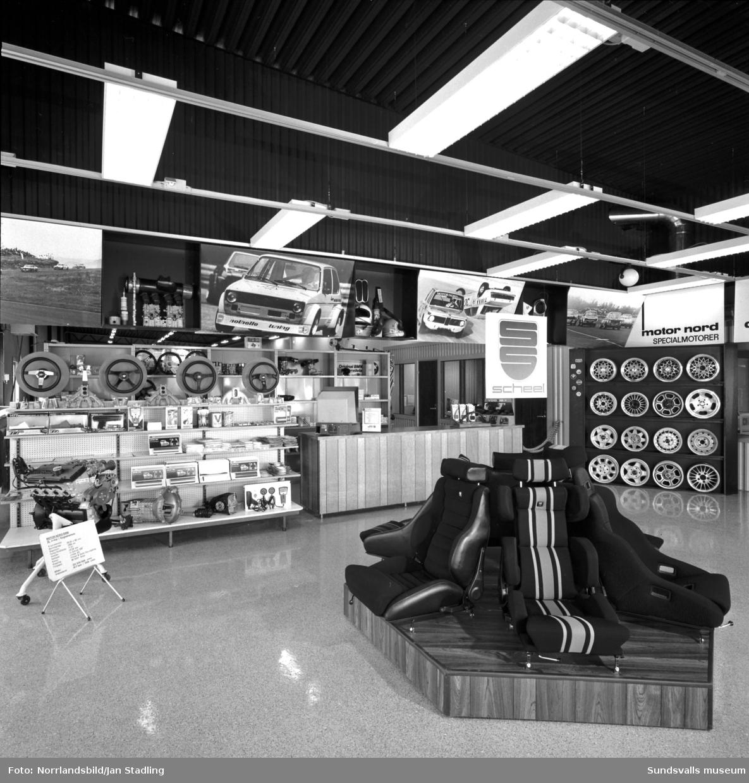Motor Nords nya butik och verkstad på Björneborgsgatan. Interiörbilder.
