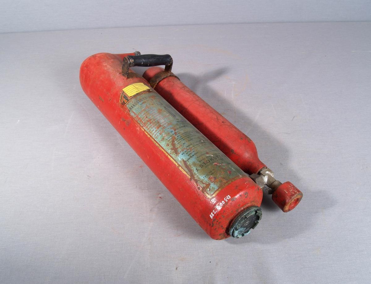 Brannslukkingsapparat med to sylindriske kolber koblet sammen. Bærehåndtak festet til begge sylindre.