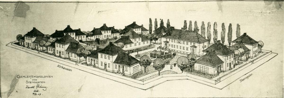 """Postkort med arkitekttegning av """"Gamlehjemskolonien ved Stensgaten, Oslo."""