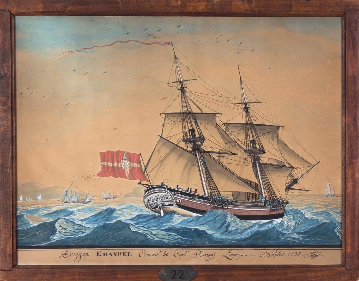 Skipsportrett av brigg EMANUEL ved Napoli. I bakgrunnen sees land og noen Middelhavsfarkoster. Dannebrog flagg med kong Christian VII monogram C7.
