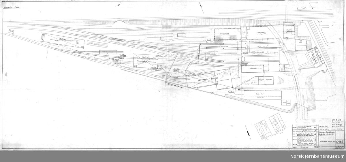 Hovedbanen - Kart over Hovedbanens Verksted. Rev. des. 1924 (og senere frem til 1964)
