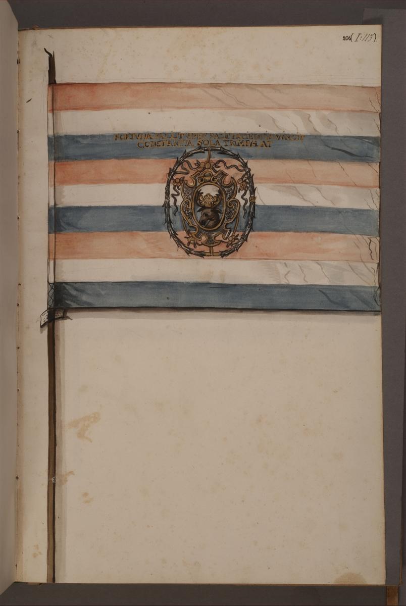 Avbildning i gouache föreställande fälttecken taget som trofé av svenska armén. Den avbildade fanan finns inte bevarad i Armémuseums samling.