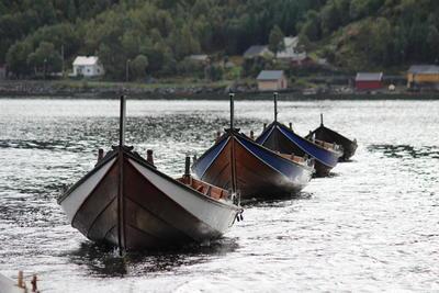Åfjordsbåter, bygget på Båtskott Trebåtbyggeri på Kystens arv i 2002. Tre halvfjerminger og en liten færing.
