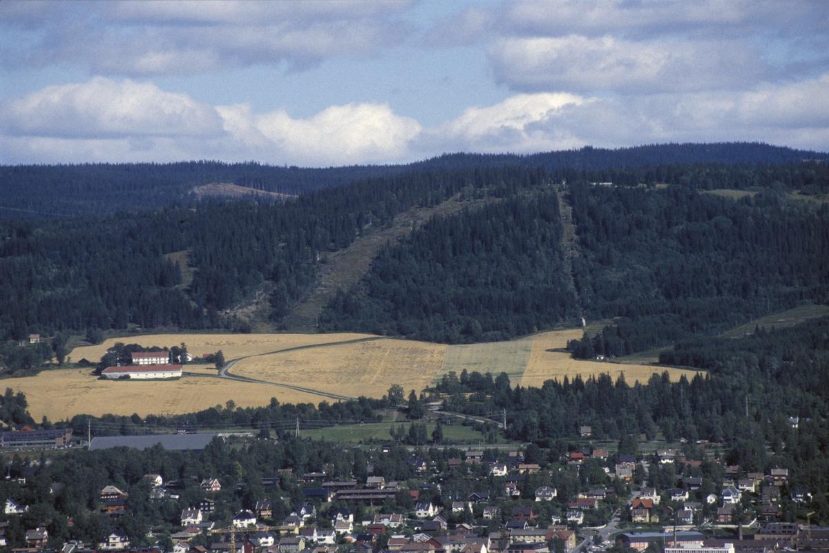 Lillehammer, oversiktsbilde tatt fra Saksumdalsveien mot Lillehammer med Lysgård, Kanthaugen, Stampesletta, før utbyggingen til OL.