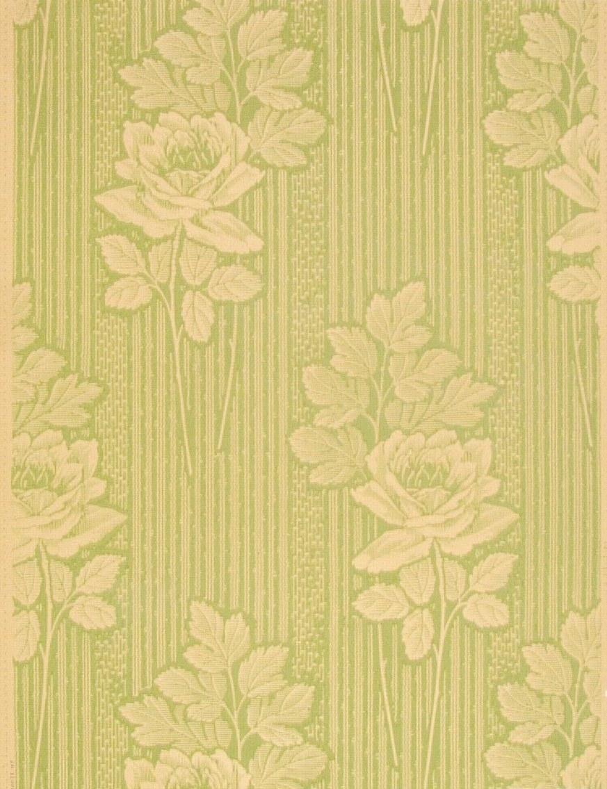 Randmönster med stor ros i diagonalupprepning. Tryck i gulgrönt på ofärgat papper.