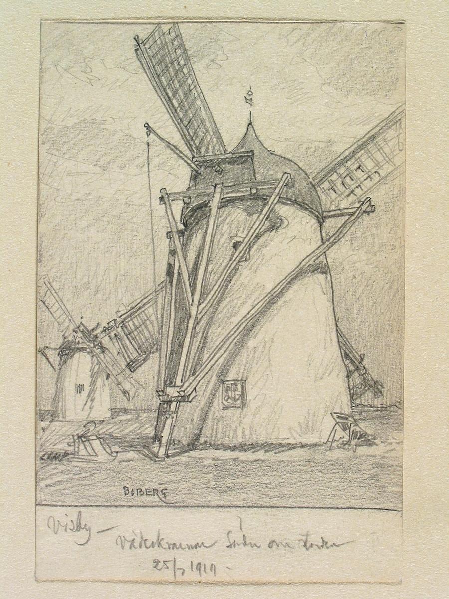"""Gotland, Visby. """"Väderkvarnar söder om staden."""" Teckning av Ferdinand Boberg"""