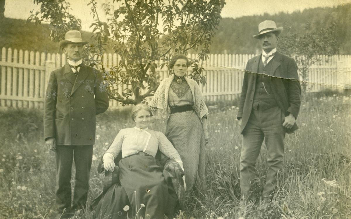 Postkort. Fire personer avbildet i en hage. 2 kvinner og 2 menn. Epletre og stakittgjerde i bakgrunnen.