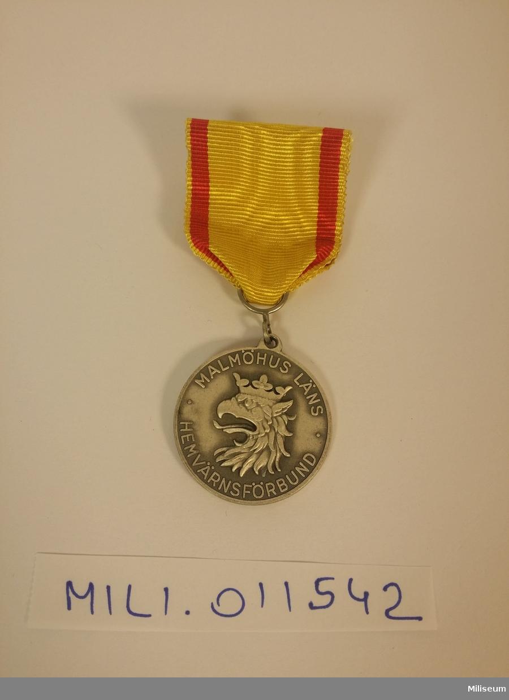 Förtjänstmedalj i valören silver (försilvrad mässing) från Malmöhus läns hemvärnsförbund