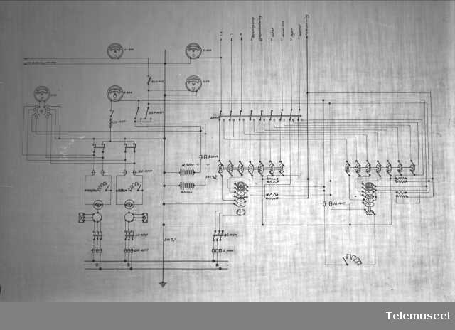 Tegning av telefonsentral, maskinanlegg, Stavanger sept 1914. Elektrisk Bureau.