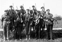 Båstad-tropp av Hjemmestyrkene i 1945. Hvor i Trøgstad? Pers
