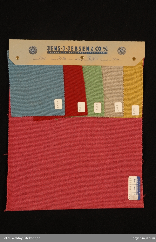 Prøvehefte med 6 prøver Kåpe/jakke Kvalitet 6318 Stykkfarget