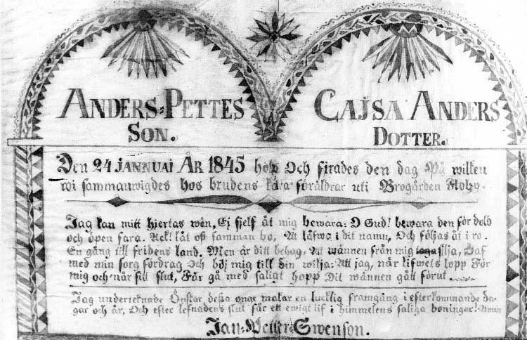 Floby snBrogården. Gratulationstavla till Anders Pettesson och Cajsa Andersdotter 1845.