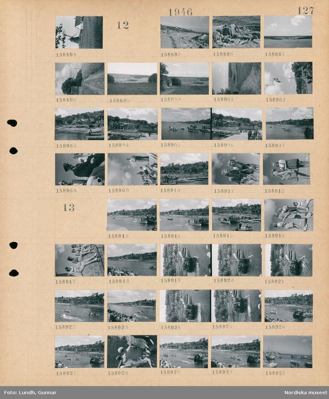 Motiv: (ingen anteckning) ; Landskapsvy med en kvarn och ett hus.  Motiv: (ingen anteckning) ; Människor solar och badar på en badstrand, landskapsvy med åkrar och skog, en väg, en hamn med båtar, kvinnor och män sitter på en pir, en folksamling på en brygga, porträtt av fyra flickor.bad