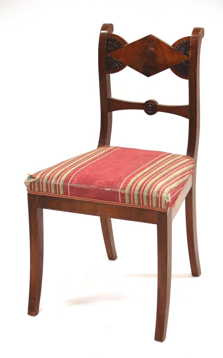 Katalogkort: Stol, (4st) ljus fanér. Fyrsidigt överstycke med halvcirkl. stiliserade blommor. Ryggslå. Svängda fram- och bakben. Stoppad sits klädd med grönt- och rödrandigt sidentyg.
