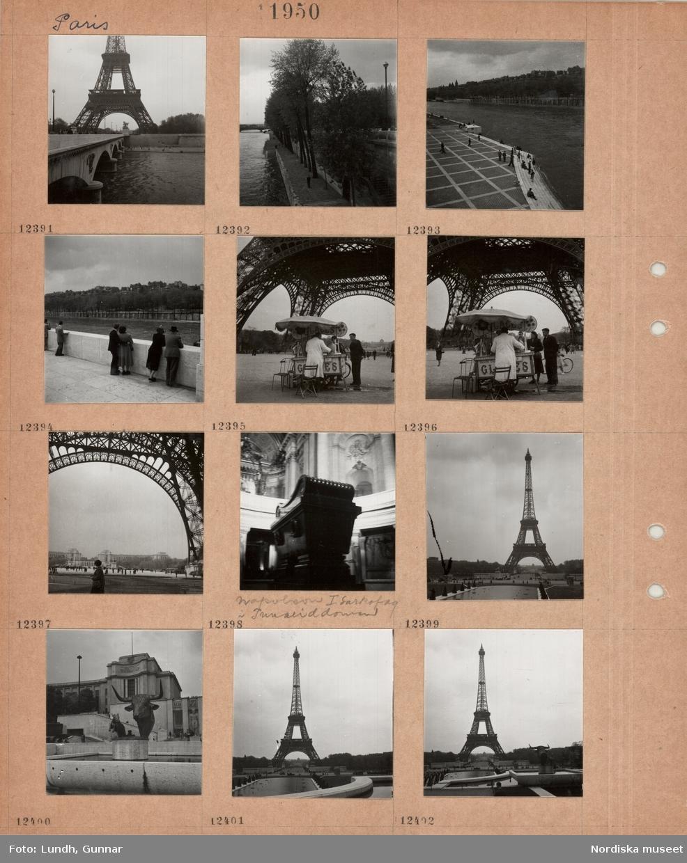 Motiv: Paris, bro över floden Seine, i bakgrunden Eiffeltornet, strandpromenad längs flod, träd, kaj med trappa, gående och personer som sitter på trappan, personer lutar sig mot balustrad vid floden, glassförsäljning vid foten av Eiffeltornet, vy från Eiffeltornets fot mot stor byggnad bakom öppen plats, interiör kyrka, Napoleons grav i Invaliddomen, Eiffeltornet, damm med skulpturer, tjurhuvud.