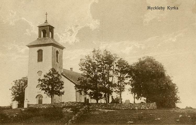 """Enligt Bengt Lundins noteringar: """"Myckleby kyrka""""."""