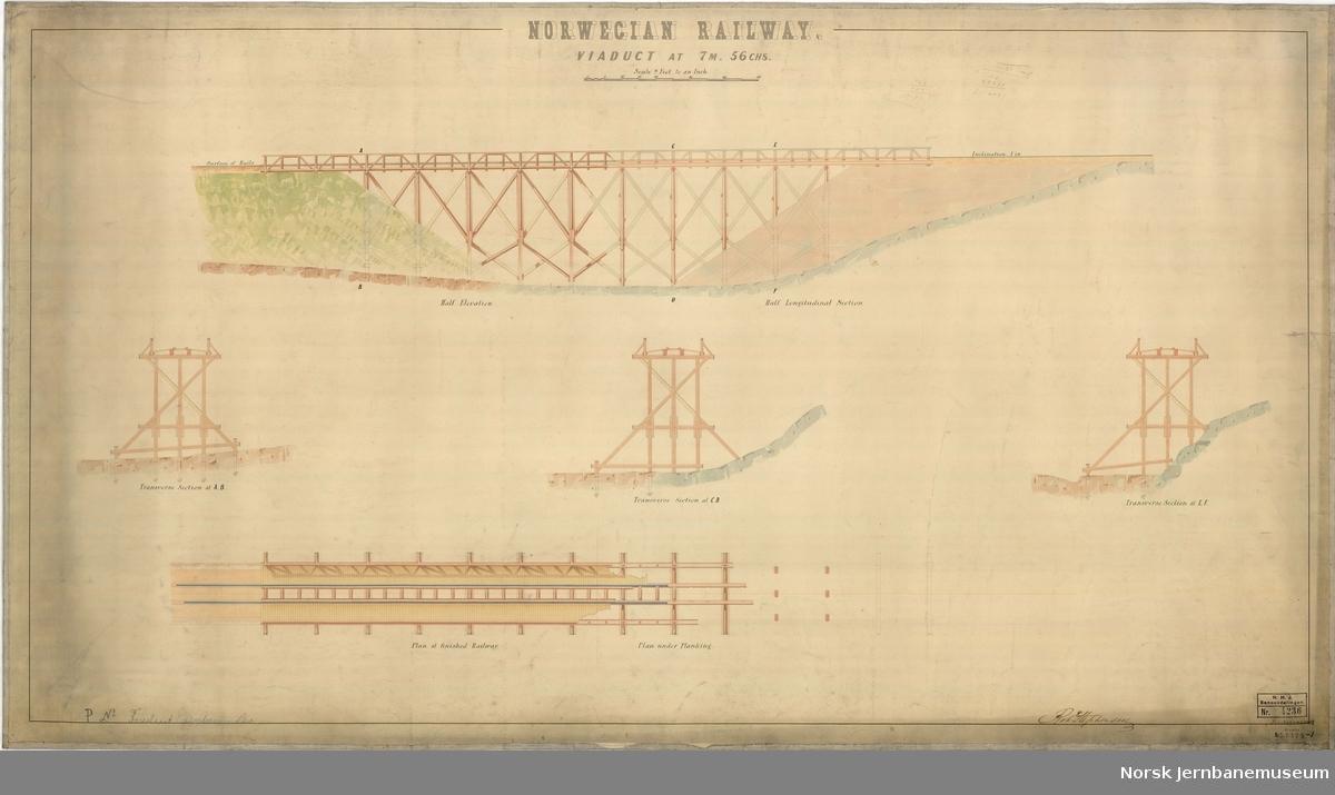 """Viaduct at 7 M 56 CHS Påført P. No. """"Foreslaaet jernbanebro""""  Ut fra oppgitt kjeding må dette tilsvare 12,39 km fra utgangspunktet og være ved Haugenstua"""