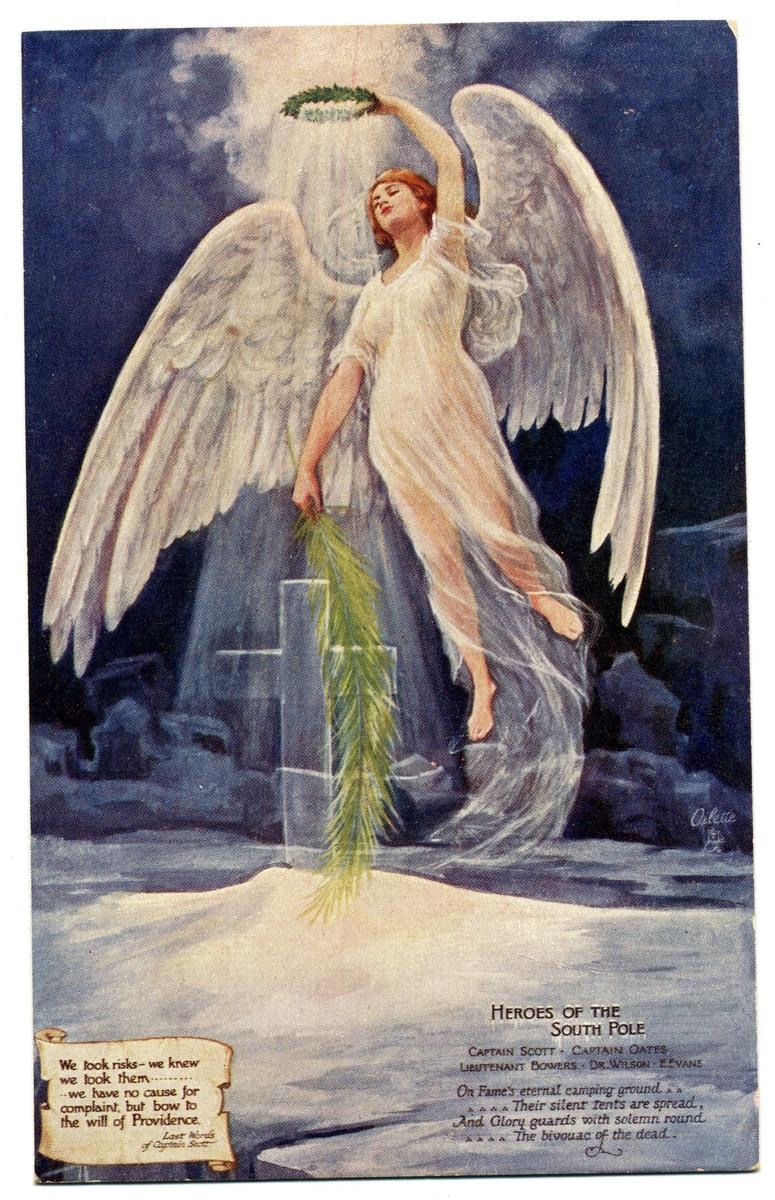 """Vykort, motiv med en ängel med genomlyst lagerkrans i handen svävar över ett kors i ett isigt landskap: """"Heroes of the South pole""""."""
