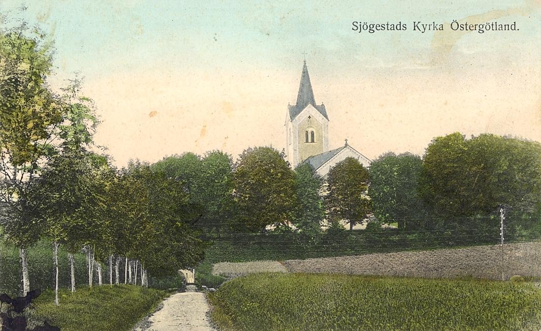 Vykort som visar Sjögestad kyrka.