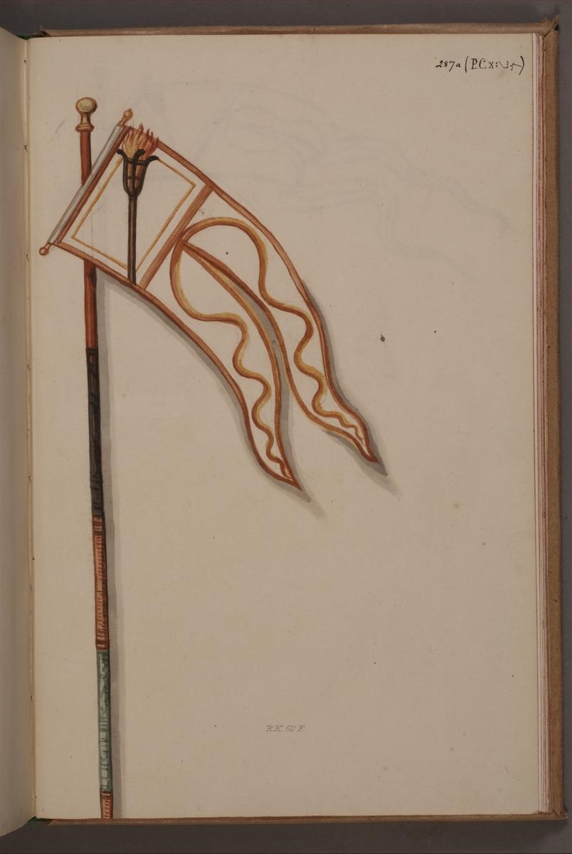Avbildning i gouache föreställande fälttecken taget som trofé av svenska armén. Den avbildade vimpeln finns bevarad i Armémuseums samling, för mer information, se relaterade objekt.